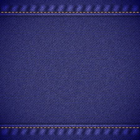 suture: Realistic jeans texture in deep blue colors with seams and thread stitches. Denim pattern background. Vector illustration