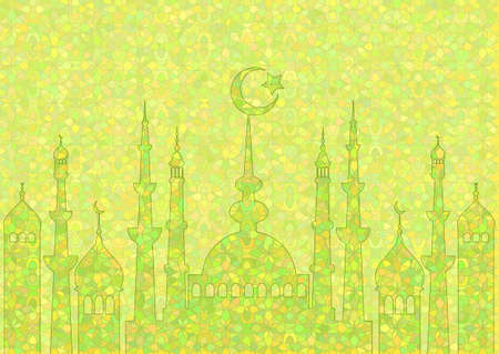fasting: Green pattern with mosques on stained glass kaleidoscope backdrop for wishes with beginning of fasting month of Ramadan, as well with Islamic holiday Eid al-Fitr and Eid al-Adha. Vector illustration
