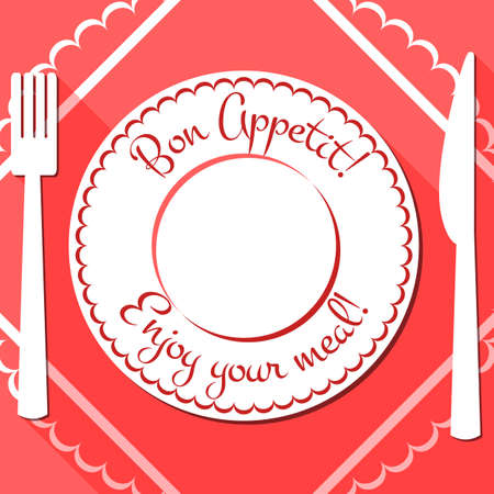 White plate with red border and cutlery on red napkin. Bon appetit icon in flat style. Enjoy your meal. Menu flat design with long shadows. Vector illustration