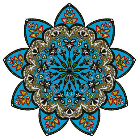 vitrage: Colorful pattern of ornamental mandala in eastern colors, isolated on white. Vector illustration