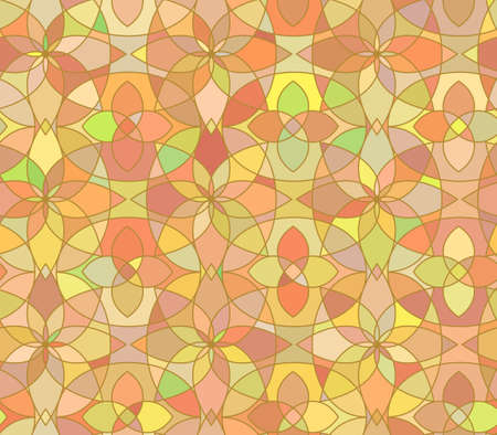glass ornament: Seamless pattern with stained glass ornament in orange colors. Colorful kaleidoscope background. Vector illustration