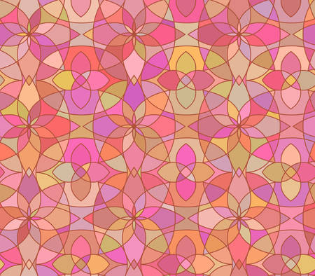 Seamless pattern with stained glass ornament in pink colors. Colorful kaleidoscope background. Vector illustration