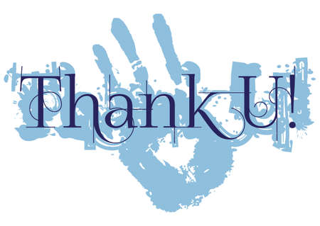 grateful: Grateful card with lettering Thank You and blue paint splashes isolated on white background. Vector illustration