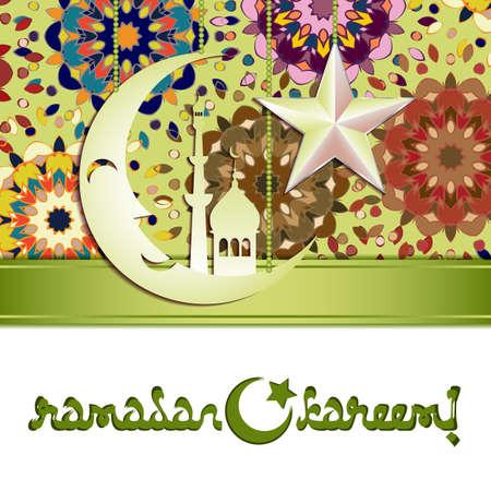 lent: Card with silver moon and star on colorful mandala pattern for greeting with Islamic holidays Ramadan, Eid al-Fitr, Eid al-Adha. Vector illustration