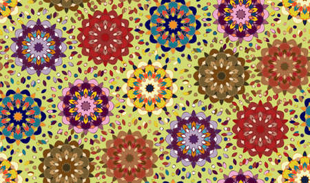 tangier: Seamless pattern with abstract mandala ornament in eastern colors on green background. Vector illustration Illustration