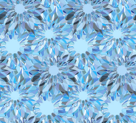 tangier: Seamless floral pattern with light blue guilloche flowers. Sapphire crystal seamless guilloche pattern or background. Vector illustration Illustration