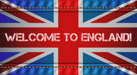 tricolor: England tricolor flag with jeans texture and welcome inscription. Design denim fabric background. Vector illustration