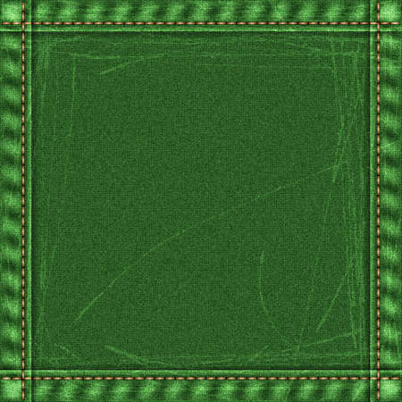 threadbare: Realistic jeans threadbare texture in green colors with frame from seams and thread stitches. Denim pattern background. Vector illustration