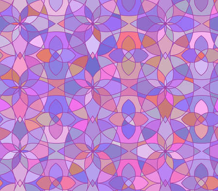 glass ornament: Seamless pattern with stained glass ornament in violet colors. Colorful kaleidoscope background. Vector illustration