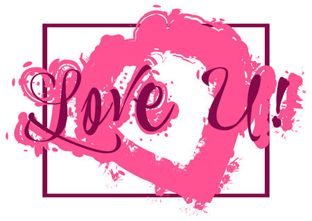 declaration: Card with lettering declaration of love and pink paint splashes isolated on white background. Vector illustration Illustration