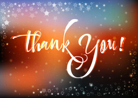 grateful: Grateful card with hand written lettering Thank You on natural sunset blurry background with sparkles. Vector illustration