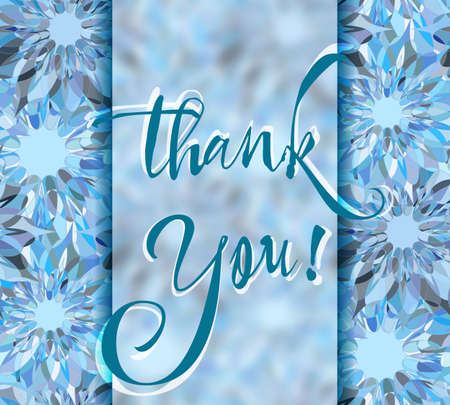 grateful: Grateful card with hand written lettering Thank You on blue abstract kaleidoscope background. Vector illustration