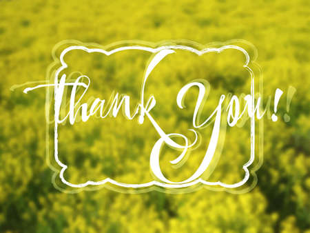 grateful: Grateful card with hand written lettering Thank You on natural yellow floral blurry background. Vector illustration