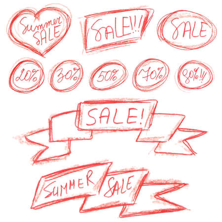 red pencil: Summer sale stickers set isolated on white. Typography, lettering and calligraphic design elements imitating writing by hand with red pencil. Poster or banner for biggest sale. Vector illustration