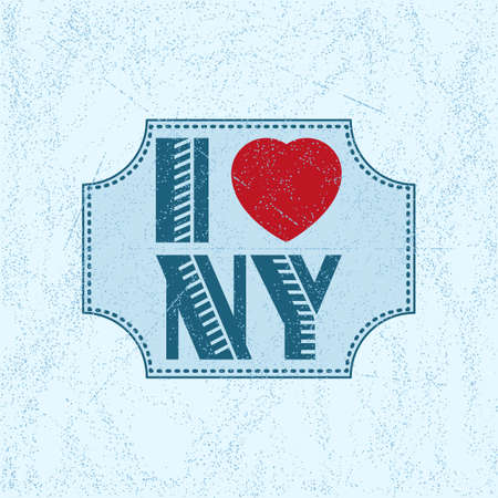 scattering: Print with lettering I love New York in retro style on blue background with scattering and fading. Pattern for fabric textiles, clothing, shirts, t-shirts. Vector illustration