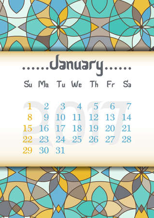 eastern: Abstract kaleidoscope background with eastern ornament and dates of winter month January 2017. illustration