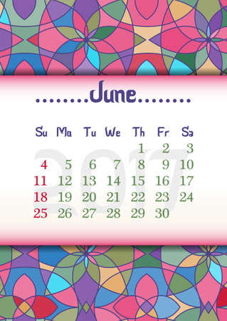 vitrage: Abstract kaleidoscope background with eastern ornament and dates of summer month June 2017. illustration