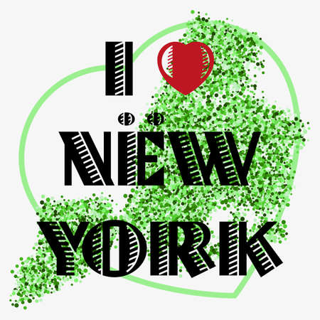 scattering: Print with lettering I love New York and green glitter scattering in shape of city map with heart frame. Pattern for souvenir fabric textiles, clothing, shirts, t-shirts. illustration