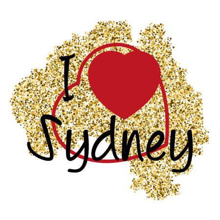scattering: Print with lettering I love Sydney and golden glitter scattering in shape of Australia with heart frame on white. Pattern for souvenir fabric textiles, clothing, shirts, t-shirts. illustration