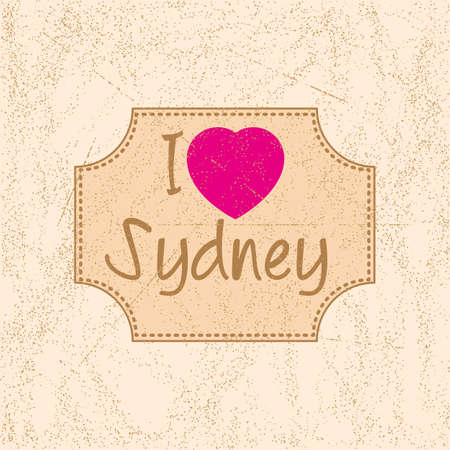 scattering: Print with lettering I love Sydney in retro style on beige background with scattering and fading. Pattern for fabric textiles, clothing, shirts, t-shirts. illustration Illustration
