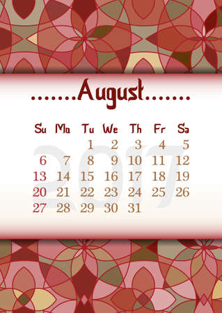 fresco: Abstract kaleidoscope background with eastern ornament and dates of summer month August 2017. illustration