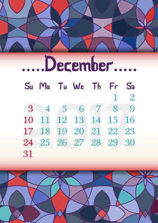 vitrage: Abstract kaleidoscope background with eastern ornament and dates of winter month December 2017. illustration