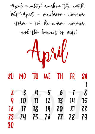 proverbs: Calendar design grid in hand written style with russian proverbs, adages and saying and dates of spring month April 2017. Vector illustration
