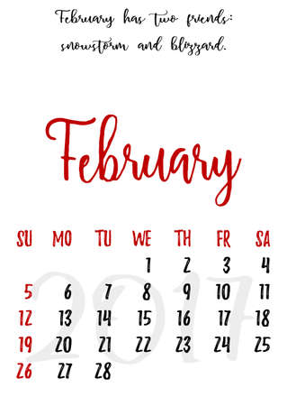 proverbs: Calendar design grid in hand written style with russian proverbs, adages and saying and dates of winter month February 2017. Vector illustration