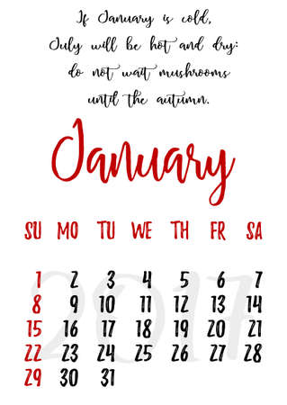 proverbs: Calendar design grid in hand written style with russian proverbs, adages and saying and dates of winter month January 2017. Vector illustration Illustration