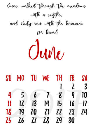 proverbs: Calendar design grid in hand written style with russian proverbs, adages and saying and dates of summer month June 2017. Vector illustration