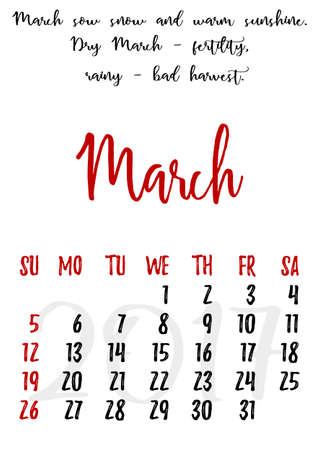 proverbs: Calendar design grid in hand written style with russian proverbs, adages and saying and dates of spring month March 2017. Vector illustration Illustration