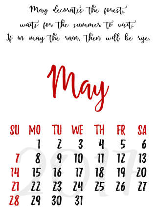 proverbs: Calendar design grid in hand written style with russian proverbs, adages and saying and dates of spring month May 2017. Vector illustration