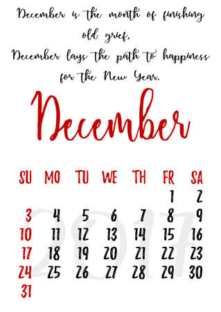 proverbs: Calendar design grid in hand written style with russian proverbs, adages and saying and dates of winter month December 2017.