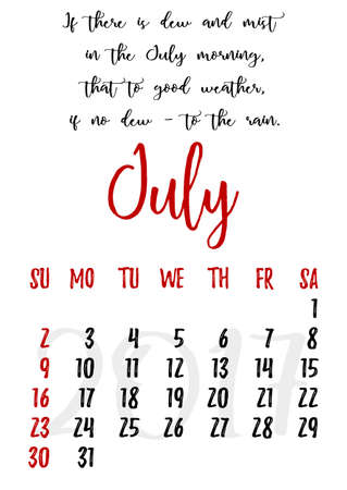 proverbs: Calendar design grid in hand written style with russian proverbs, adages and saying and dates of summer month July 2017.