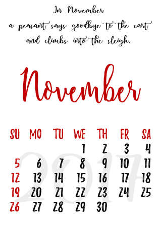 proverbs: Calendar design grid in hand written style with russian proverbs, adages and saying and dates of autumn month November 2017.
