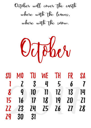 proverbs: Calendar design grid in hand written style with russian proverbs, adages and saying and dates of autumn month October 2017.
