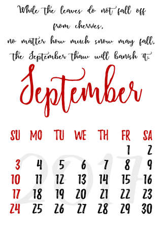 proverbs: Calendar design grid in hand written style with russian proverbs, adages and saying and dates of autumn month September 2017.