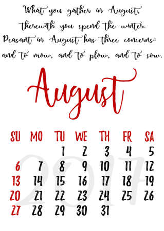 proverbs: Calendar design grid in hand written style with russian proverbs, adages and saying and dates of summer month August 2017. Illustration
