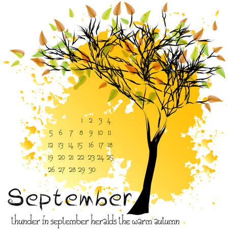 september calendar: Abstract nature background with autumn tree with yellow foliage and sample of dates for calendar month September. Calendar design. Shape of tree on yellow splashes and blots.