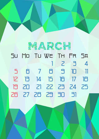 celadon: Abstract polygonal background with triangular ornament in celadon and dates of spring month March 2017. Illustration
