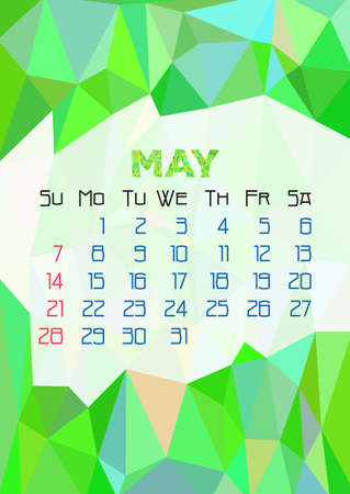 green dates: Abstract polygonal background with triangular ornament in green and dates of spring month May 2017. Illustration