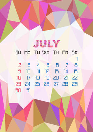 fresco: Abstract polygonal background with triangular ornament in pink and dates of summer month July 2017.