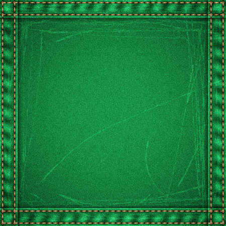 scuffed: Realistic jeans scuffed texture in green colors with frame from seams and thread stitches. Denim pattern background. Vector illustration