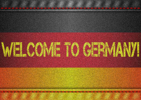 germanic: Germany tricolor flag with jeans texture and welcome inscription. Design denim fabric background. Vector illustration