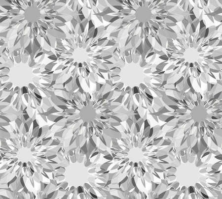 zircon: Seamless floral pattern with grey guilloche flowers. Zircon crystal seamless guilloche pattern or background. Vector illustration Illustration