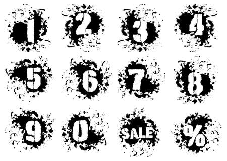 spatters: Grunge numerals with splashes icon set in black and white colors. Numbers in spatters from 0 to 9, also sale and percent signs as bonus. Isolated on white. Vector illustration
