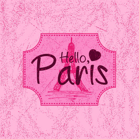 fading: Print with lettering about Paris in retro style on pink background with scattering and fading. Pattern for fabric textiles, clothing, shirts, t-shirts. Vector illustration