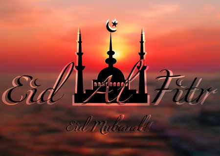 fasting: Card with mosque on sea sunset for greeting with finish of fasting month Ramadan and Islamic holiday Eid al-Fitr, as well Feast of Breaking the Fast. Vector illustration