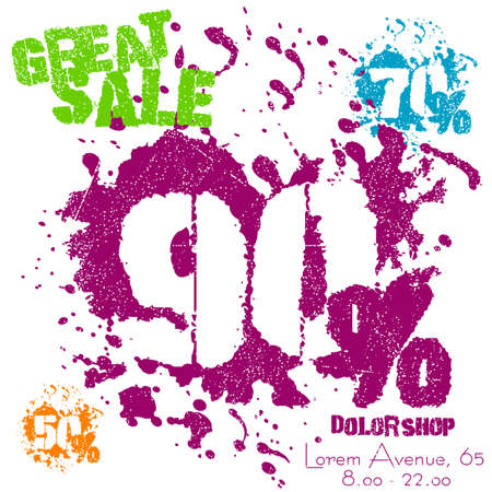 spatters: Grunge sale poster with colorful splashes on white. Great sale numbers in spatters with 50, 70 or 90 percent. Vector illustration Illustration