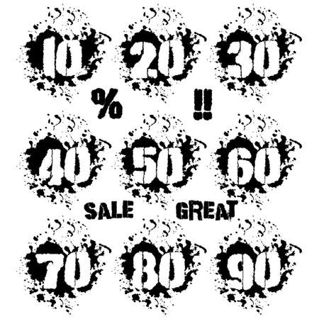 decades: Grunge dozens of numerals with splashes icon set in black and white. Decades of numbers in spatters from 10 to 90, also sale and percent lettering as bonus. Isolated on white. Vector illustration